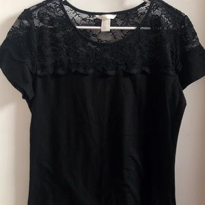 H & M Lace Fitted Short Sleeve T-shirt